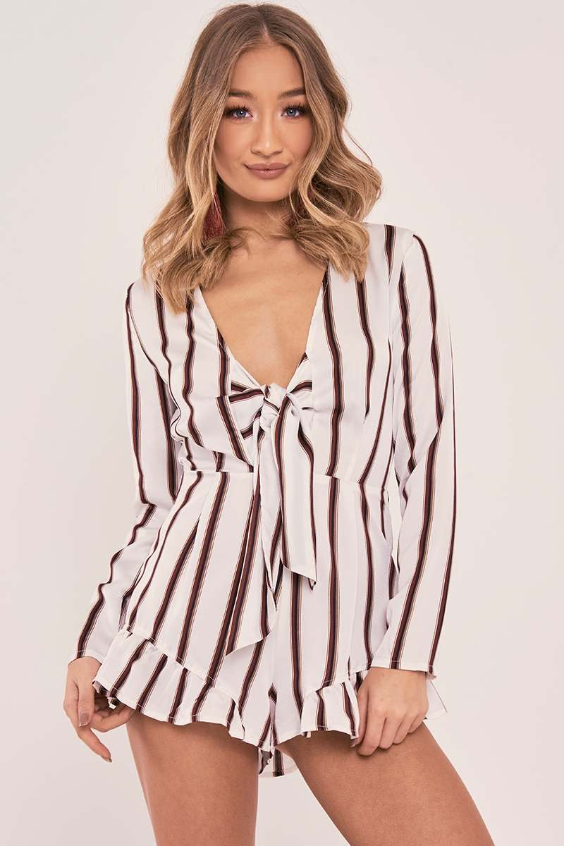 a799b132b38 Saffeya White Stripe Silky Tie Front Playsuit