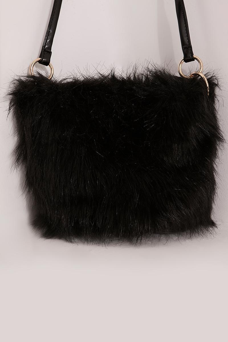 356f69a37c77 Black Large Faux Fur Bag