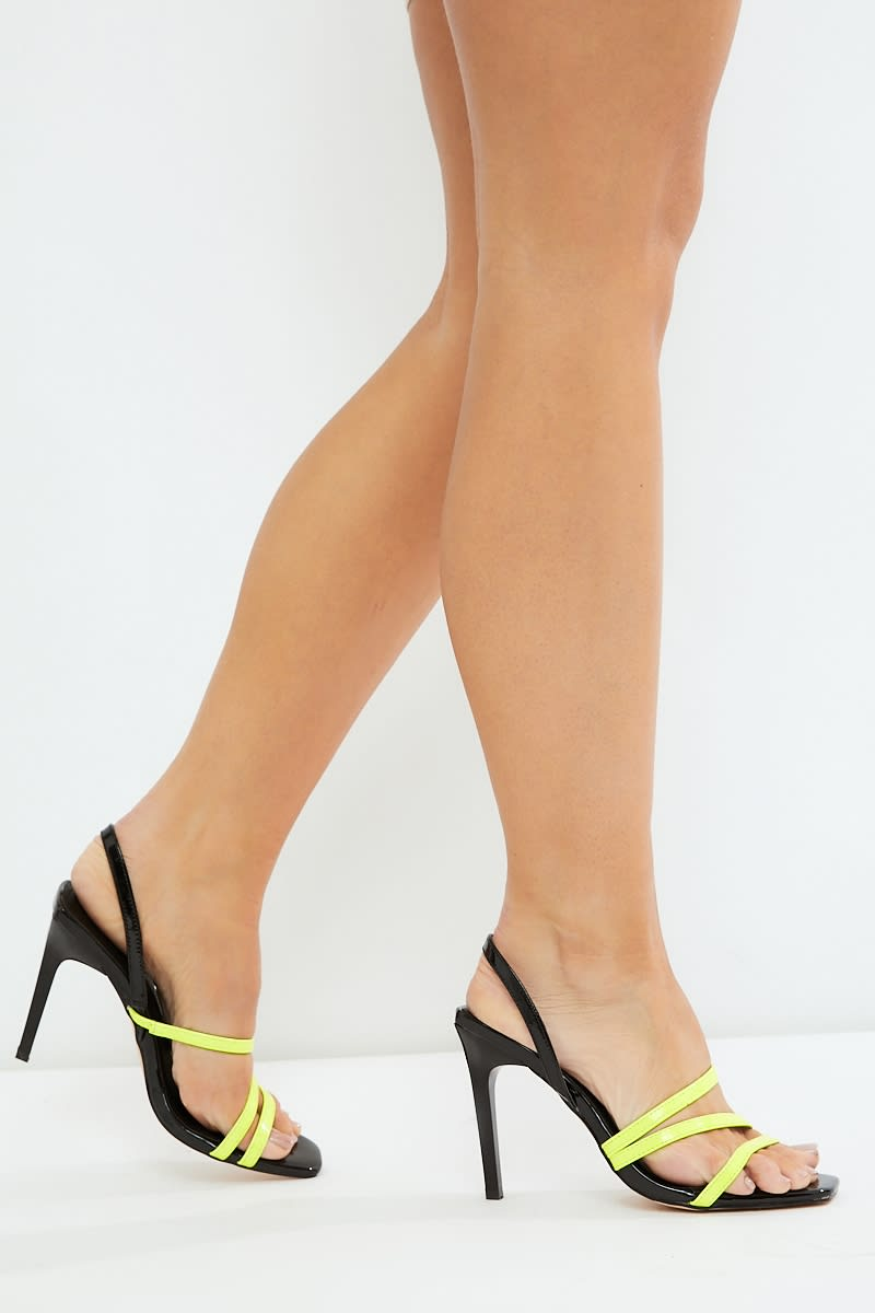 e1147514c2a4 Lilanda Yellow Square Toe Neon Strap Heels