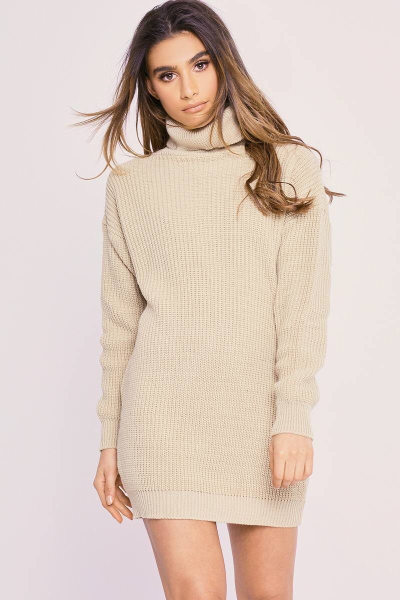 0be231ace47 Charlotte Crosby Stone Roll Neck Oversized Knitted Jumper Dress