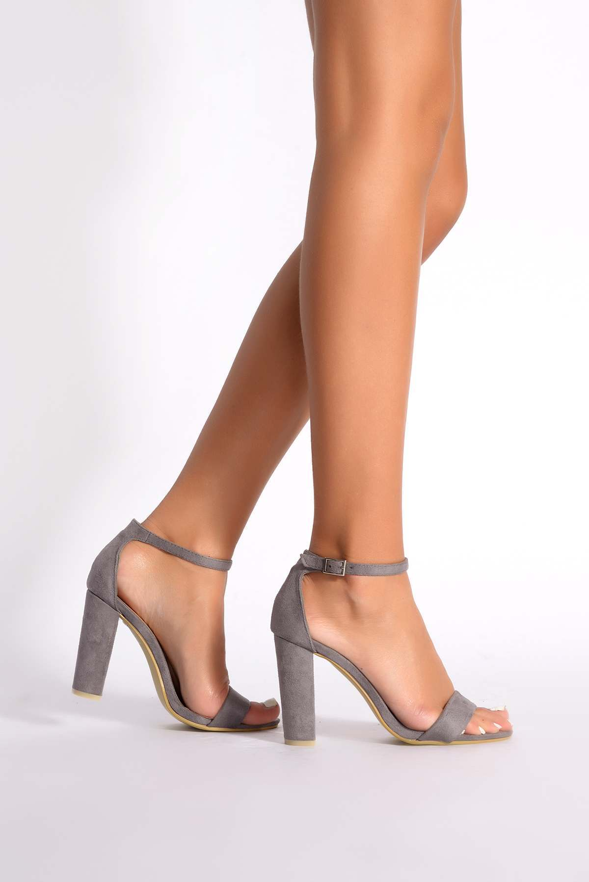 765275f4e00 Morgan Grey Faux Suede Ankle Strap Barely There Heels