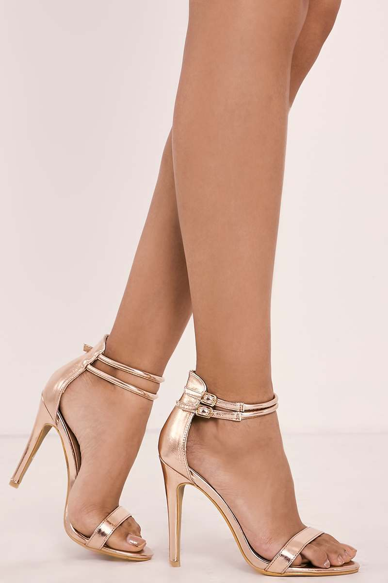 08a7e9461d77 Rubeka Rose Gold Metallic Strappy Barely There Heels