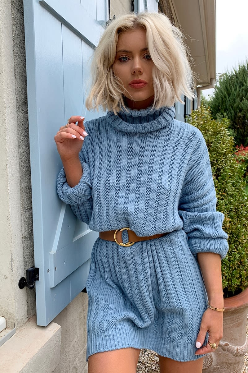 9a0fd87b4 Laura Jade Dusty Blue Oversized Chunky Knitted Jumper Dress With Side Splits