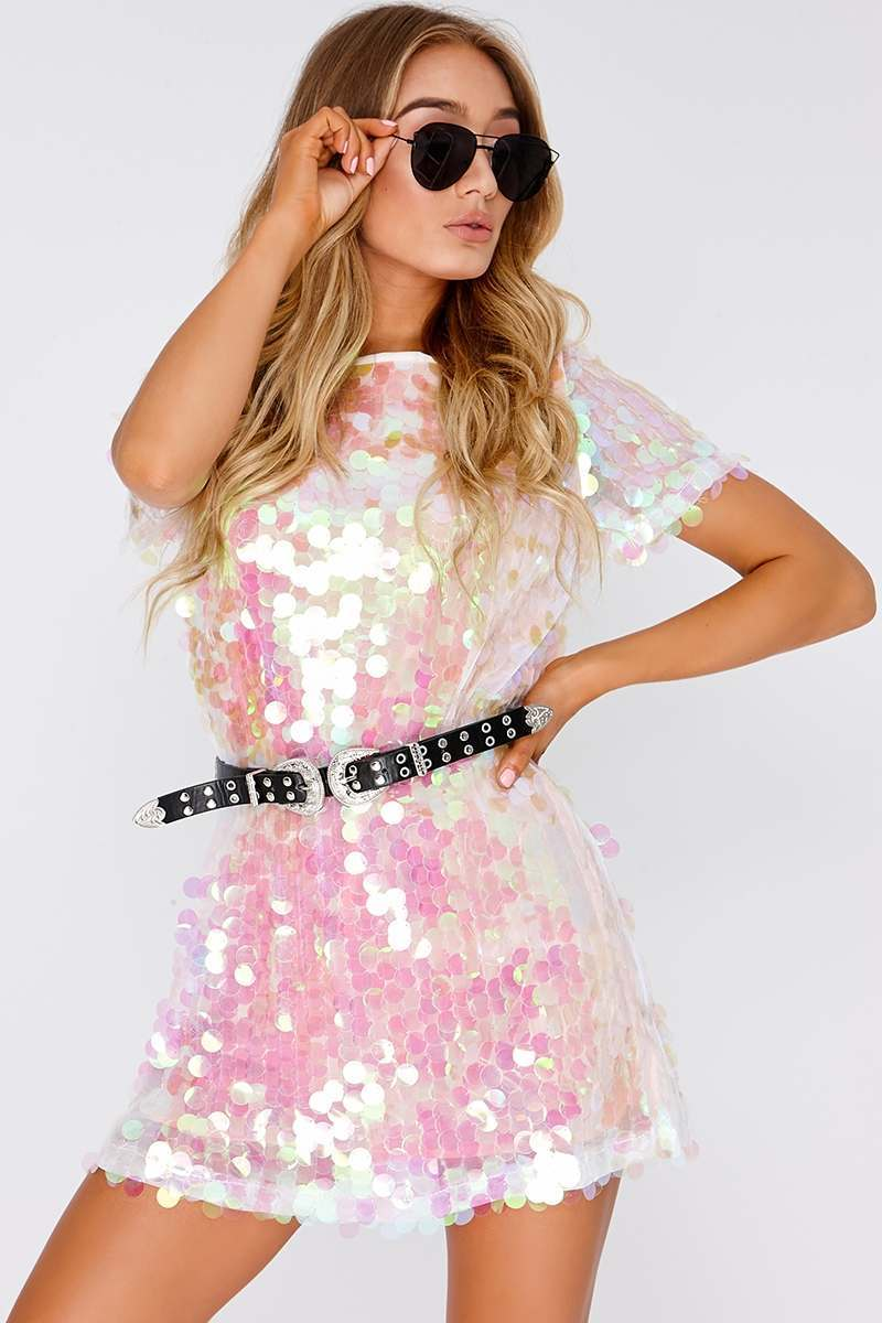 db149ef71605 Darcell White Iridescent Sequin T Shirt Dress