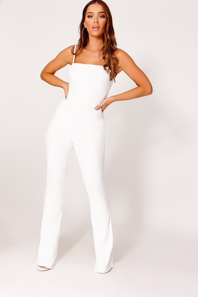 a4e3a190e96a Brinie White Square Neck Flared Leg Jumpsuit