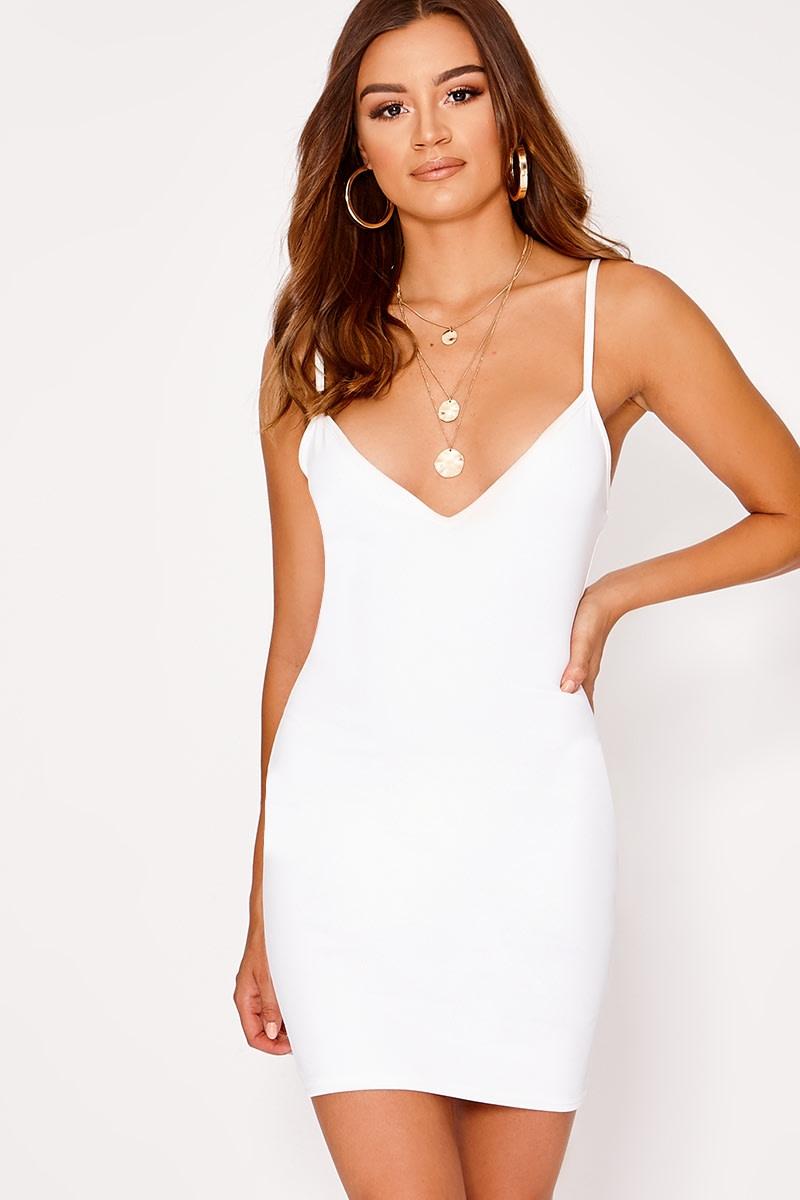 b10456ab808e Basic White Scuba Plunge Bodycon Dress