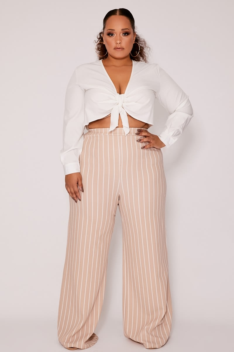 081d531009a Curve Melynna Nude Stripe High Waisted Wide Leg Trousers