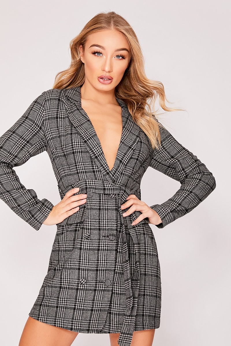 beb252bfcf Kier Grey Checked Wool Style Blazer Dress