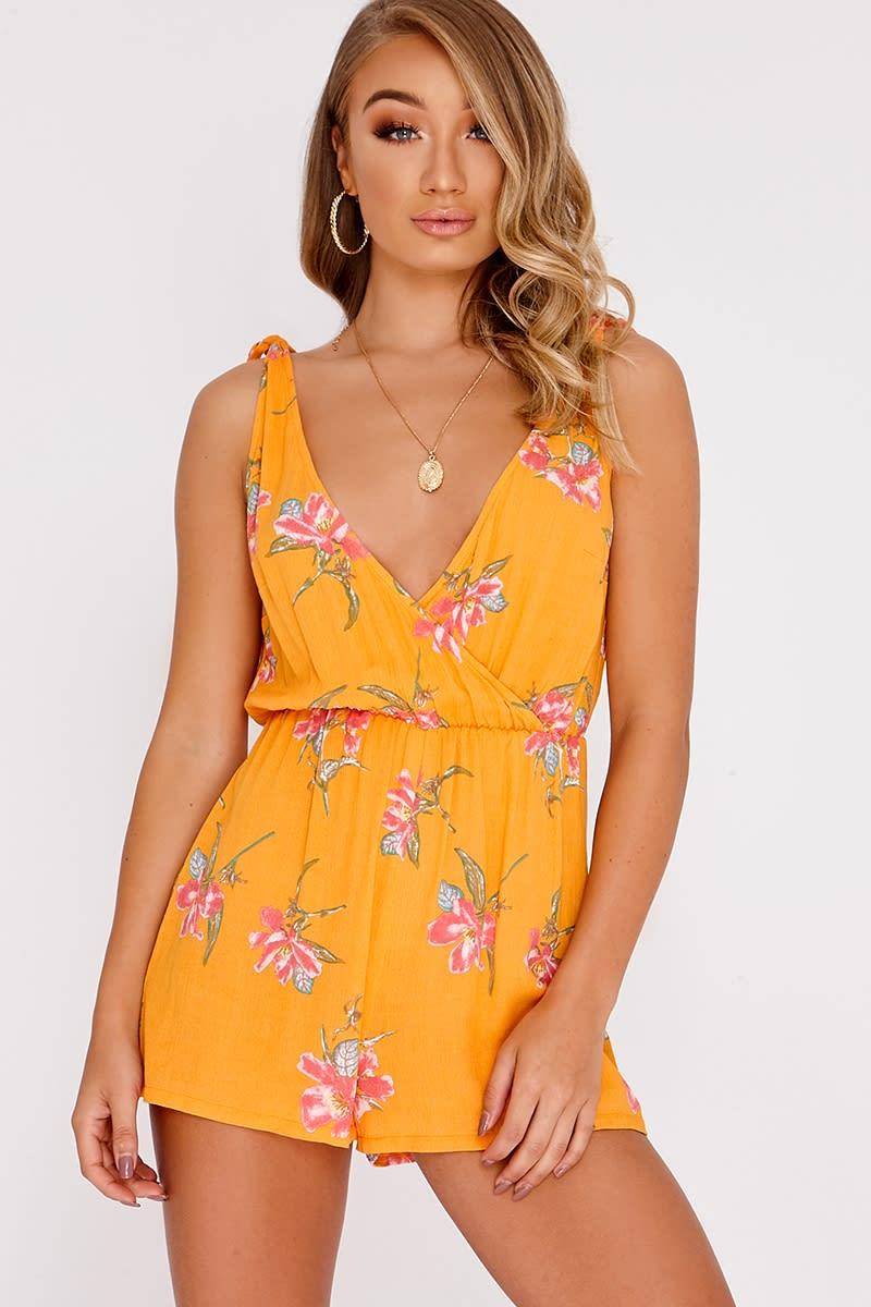 1b8e03b1a617 Dorie Orange Floral Plunge Playsuit