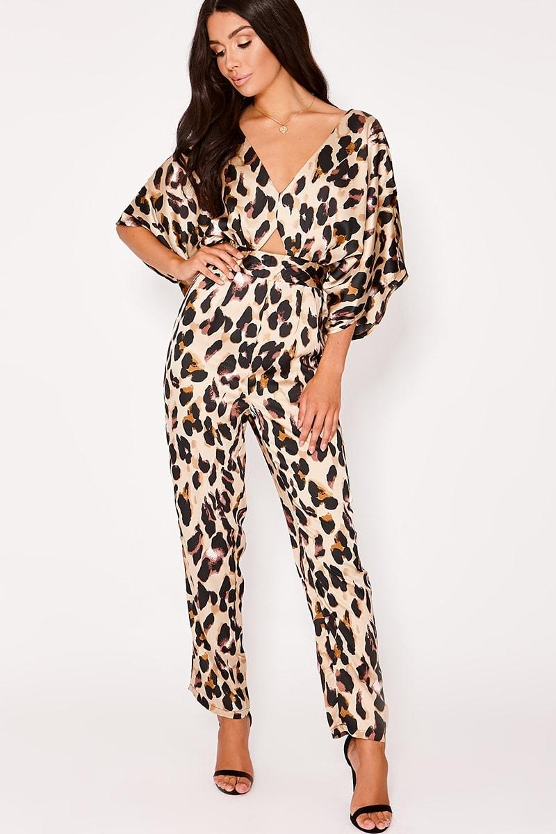 3f5041bd53e5 Merella Gold Satin Leopard Print Kimono Sleeve Jumpsuit