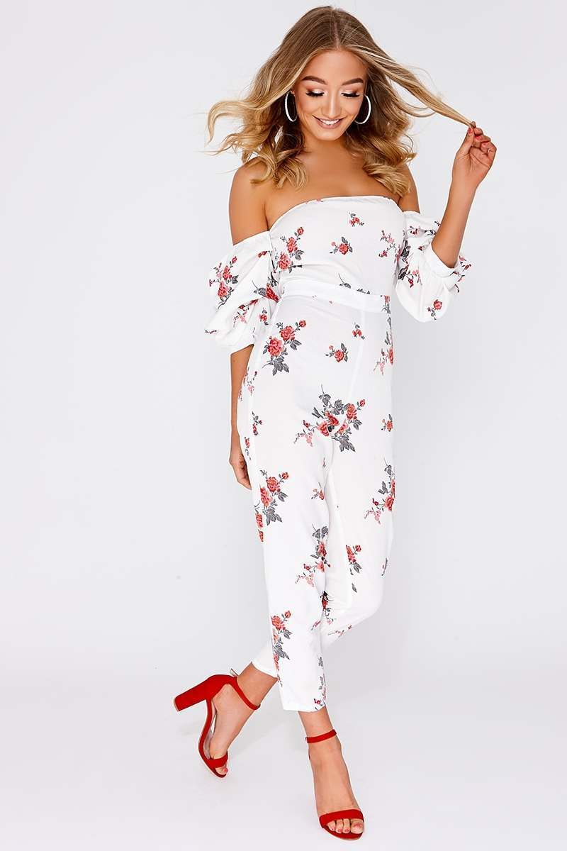 37c57002a8d Chay White Floral Ruched Sleeve Bardot Jumpsuit
