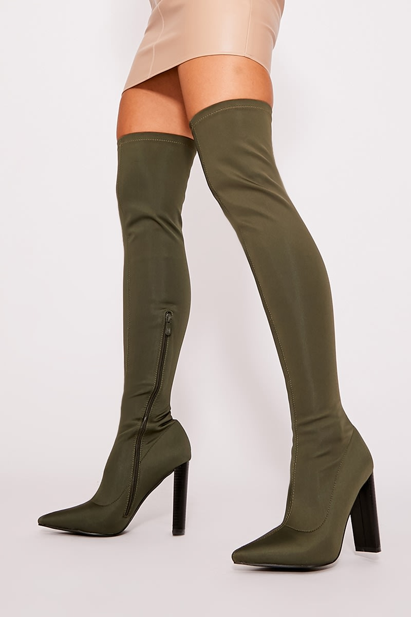 6d0838398c8 Roxeena Khaki Stretch Heeled Over The Knee Boots