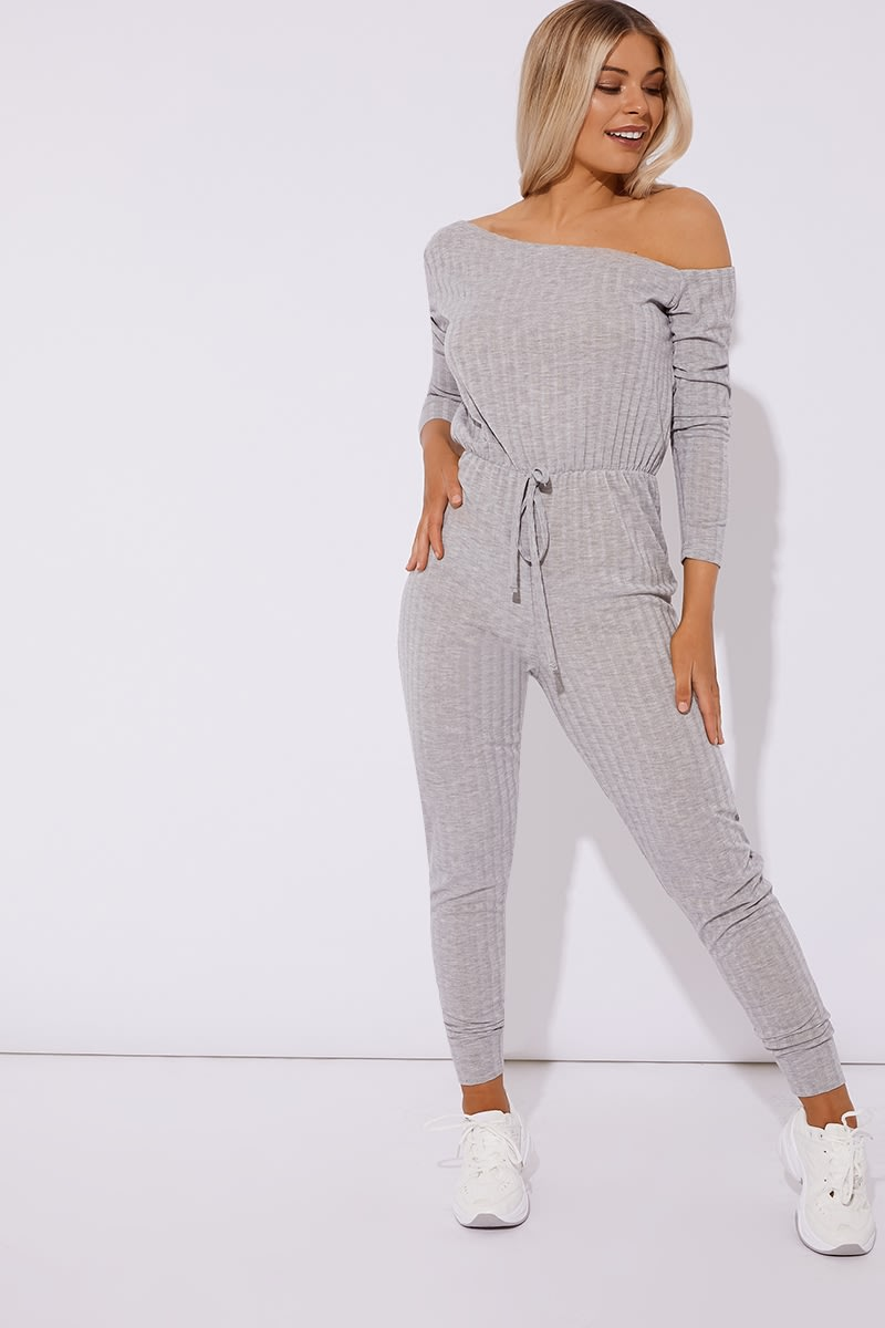 a83e1b42abf9 Aleaha Grey Ribbed Off Shoulder Jumpsuit