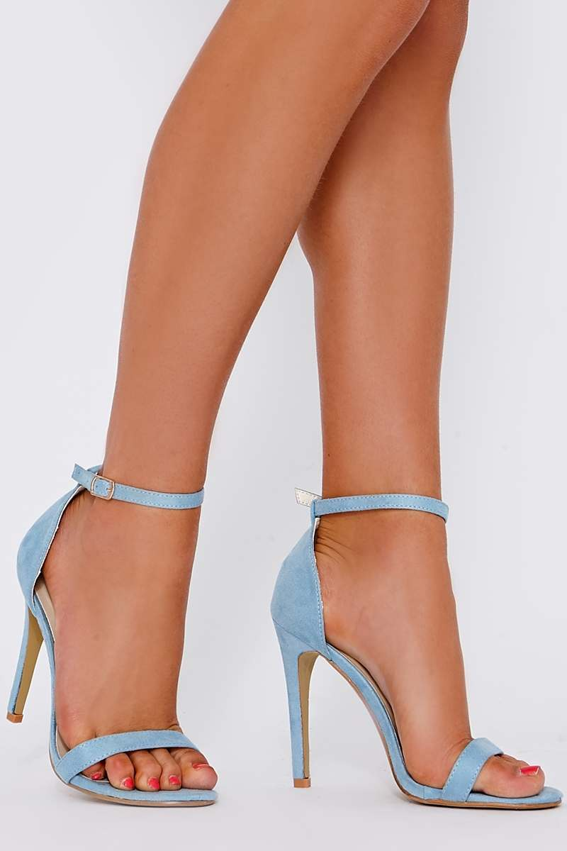 530fe5045e8 Marney Baby Blue Faux Suede Ankle Strap Heels