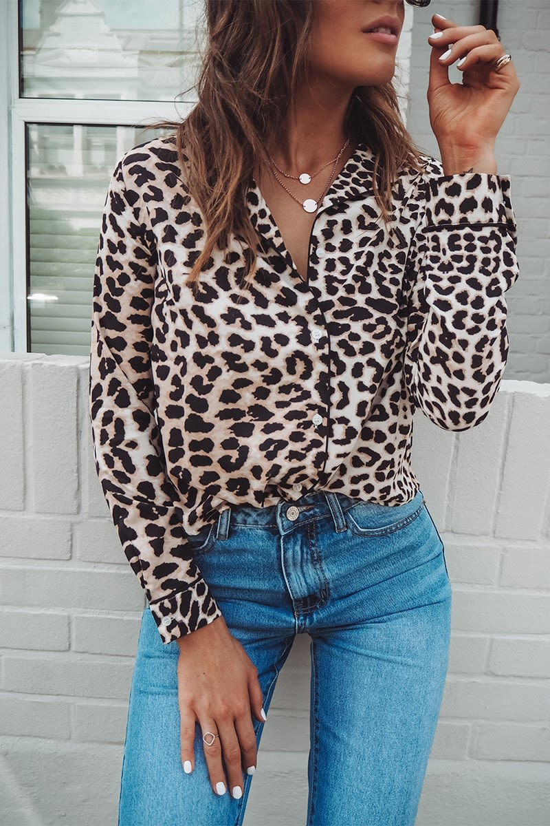 d371374c078744 Binky Brown Leopard Print Shirt