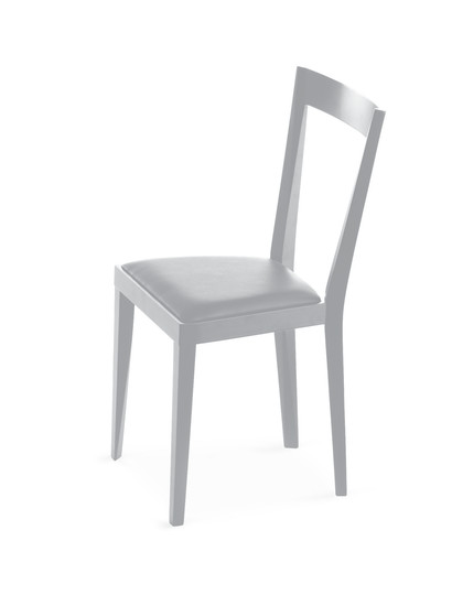 Livia: Chair available in different finishings with upholstered seat