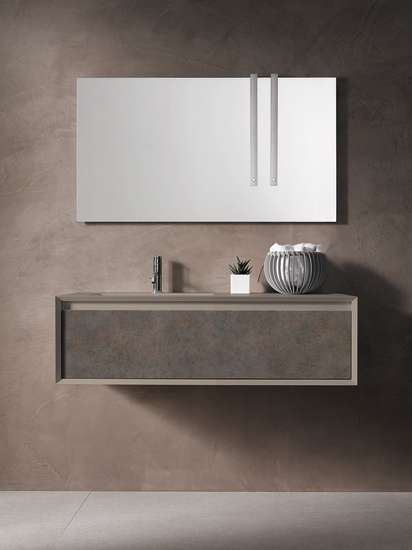 Iks Full: Unit with integrated washbasin and big drawer L 90-105-120 cm H 34.5 cm, structure in Fenix NMT
