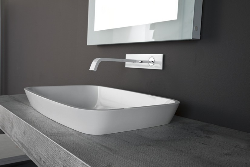 Goji: Semi-recessed washbasin in different materials
