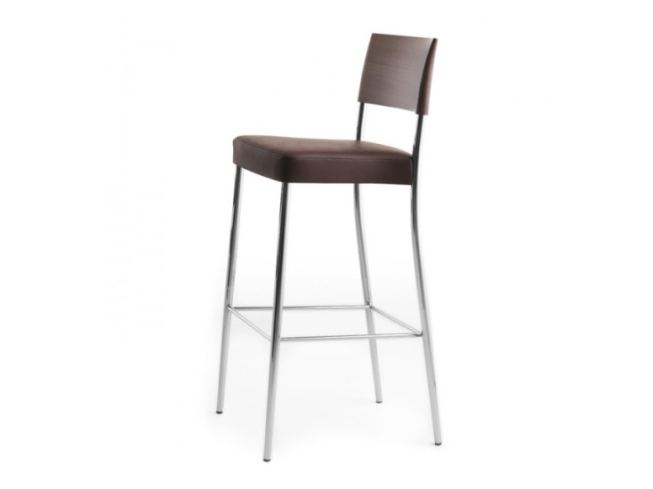 Airon: Stool with upholstered seat and top rail in solid wood