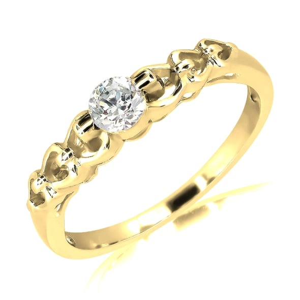 18K Gold and 0.20 Carat E Color VS Clarity Diamond Ring.