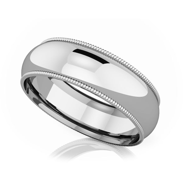 แหวน Platinum -  6 mm Milgrain edge romantic classic band
