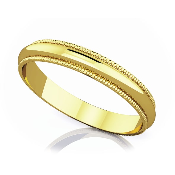 แหวนทอง - 18K 3 mm Milgrain edge romantic classic band