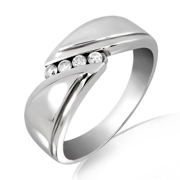 แหวนเพชรหมั้นหญิง ทอง 18K ประดับเพชร น้ำหนักรวม 0.12 กะรัต ค่าสี F ค่าความสะอาด VS