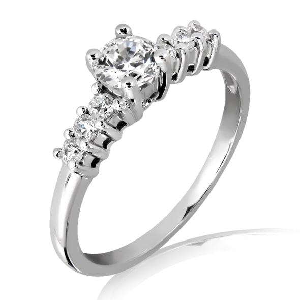 แหวนทอง 18k ประดับเพชร น้ำหนักรวม 1.00 กะรัต ค่าสี D ค่าความสะอาด VVS2 EX/EX/EX เพชรมาพร้อมใบรับรองจาก IGL