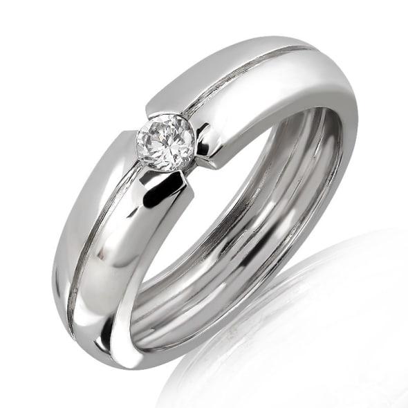 แหวนหมั้นชาย ทอง 18K ประดับเพชร น้ำหนักรวม 0.15 กะรัต ค่าสี F ค่าความสะอาด VS