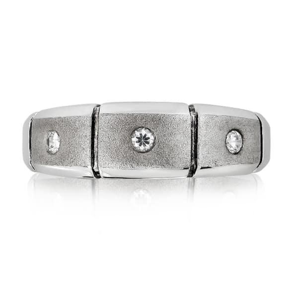 แหวนหมั้นชาย ทอง 18K ประดับเพชร น้ำหนักรวม 0.06 กะรัต ค่าสี F ค่าความสะอาด VS