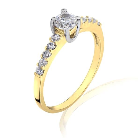 แหวนทอง 18K ประดับเพชร น้ำหนักรวม 0.53 กะรัต ค่าสี E ค่าความสะอาด VS2 EX/EX/EX เพชรมาพร้อมใบรับรองจากสถาบัน GIA