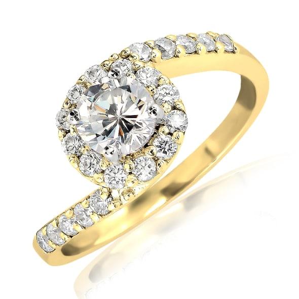 แหวนทอง 18K ประดับเพชร น้ำหนักรวม 0.60 กะรัต ค่าสี F ค่าความสะอาด VS2 เพชรมาพร้อมใบรับรองจากสถาบัน GIA