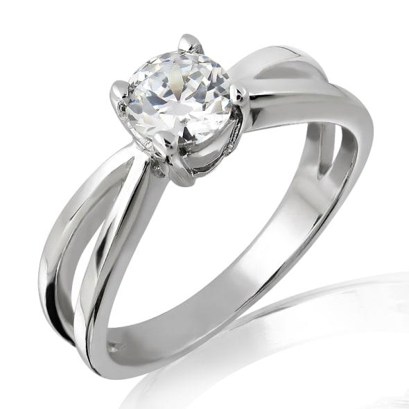 แหวนทอง 18K ประดับเพชร น้ำหนักรวม 1.00 กะรัต ค่าสี F ค่าความสะอาด VS2  เพชรมาพร้อมใบรับรองจากสถาบัน GIA