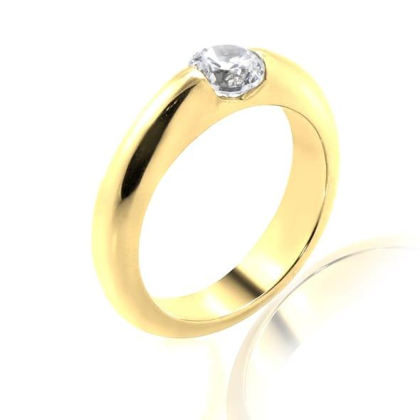 แหวนทอง 18K ประดับเพชร น้ำหนักรวม 0.50 กะรัต ค่าสี F ค่าความสะอาด VS1 EX/EX/EX เพชรมาพร้อมใบรับรองจากสถาบัน GIA