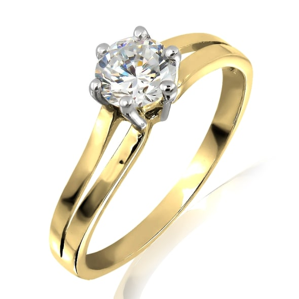 แหวนทอง 18K ประดับเพชร น้ำหนักรวม 0.40 กะรัต ค่าสี F ค่าความสะอาด VVS1 EX/EX/EX เพชรมาพร้อมใบรับรองจากสถาบัน GIA