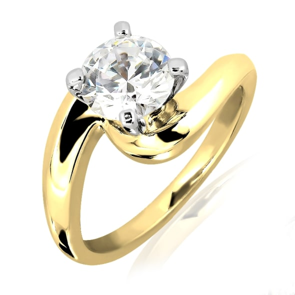18K Gold and 0.30 Carat F Color VS1 Clarity EX/EX/EX GIA Certified Diamond Ring