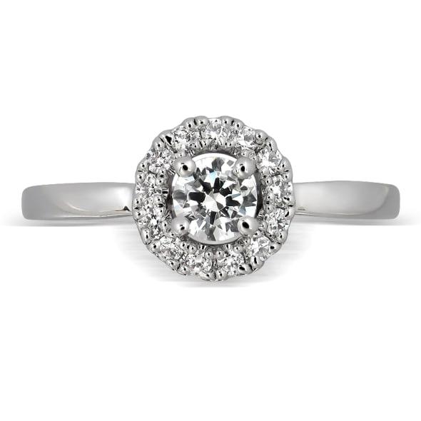 แหวนทอง 18K ประดับเพชร น้ำหนักรวม 0.50 กะรัต ค่าสี E (น้ำ 99) ค่าความสะอาด VS2 EX/EX/EX เพชรมาพร้อมใบรับรองจาก GIA