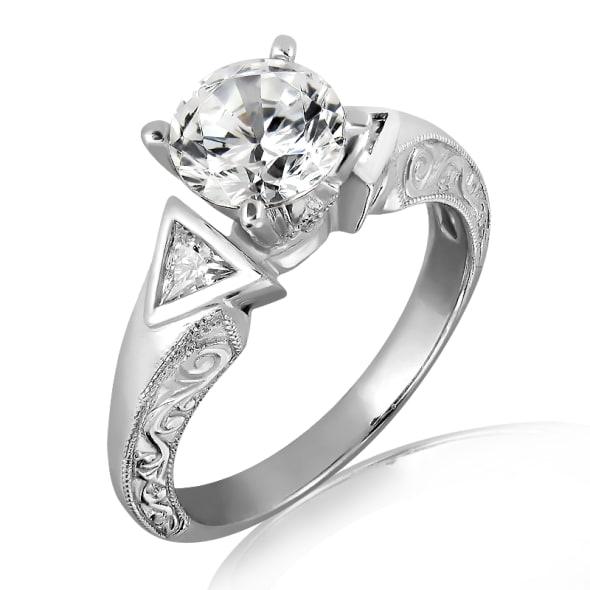 แหวนทอง 18K ประดับเพชร น้ำหนักรวม 1.20 กะรัต ค่าสี D ค่าความสะอาด VS2 เพชรมาพร้อมใบรับรองจากสถาบัน GIA