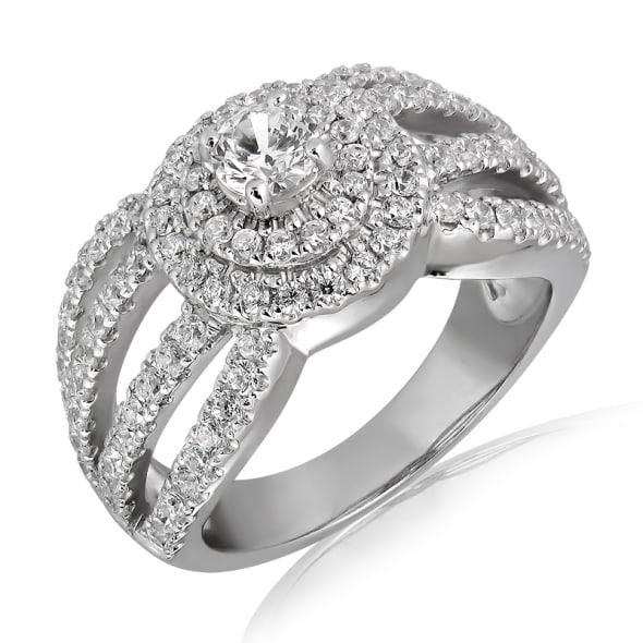 แหวนทอง 18K ประดับเพชร น้ำหนักรวม 1.00 กะรัต ค่าสี E ค่าความสะอาด VS1