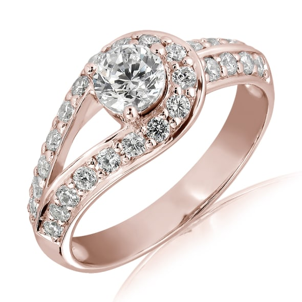 แหวนทอง 18K Rose Gold ประดับเพชร น้ำหนักรวม 0.65 กะรัต ค่าสี E ค่าความสะอาด VS1