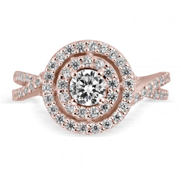แหวนทอง 18K Rose Gold ประดับเพชร น้ำหนักรวม 1.00  กะรัต ค่าสี E  ค่าความสะอาด VS2