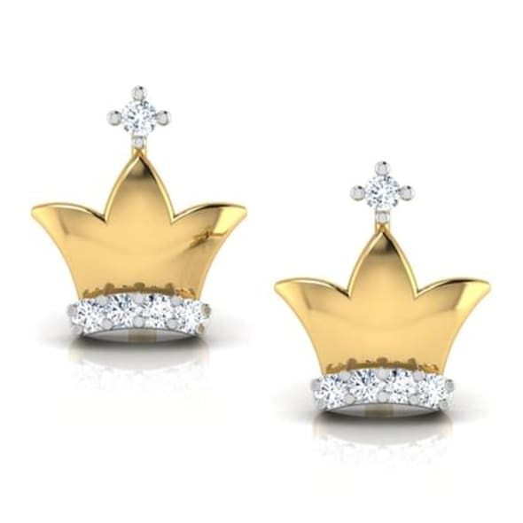 18K Gold and 0.06 carat Diamond Earrings