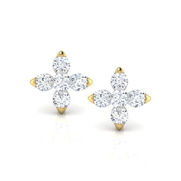 18K Gold and 0.09 carat Diamond Earrings