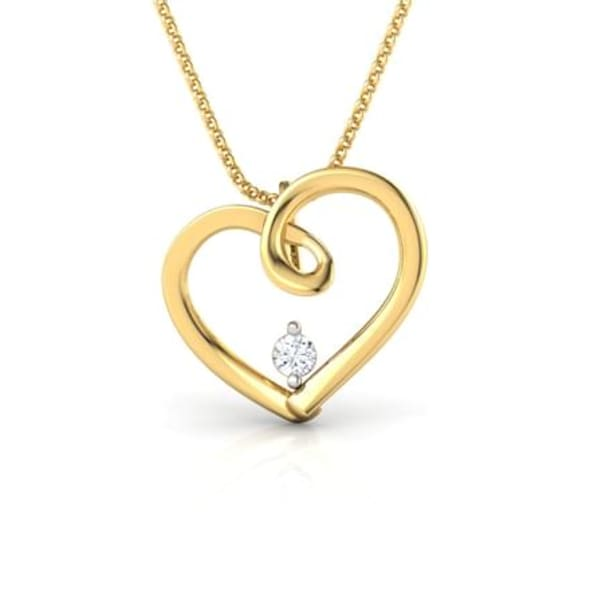 18K Gold and 0.02 carat Diamond Pendant