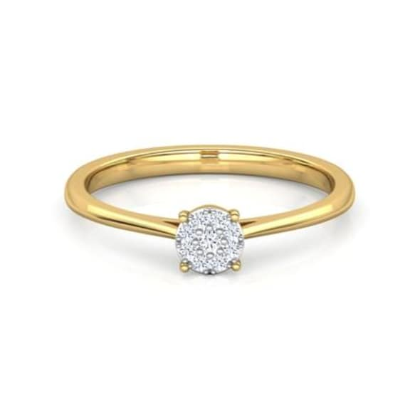 18K Gold and 0.06 Carat GH Color VS Clarity Diamond Ring