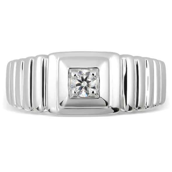 18K Gold and 0.15 Carat F Color VS Clarity Men's Diamond Band