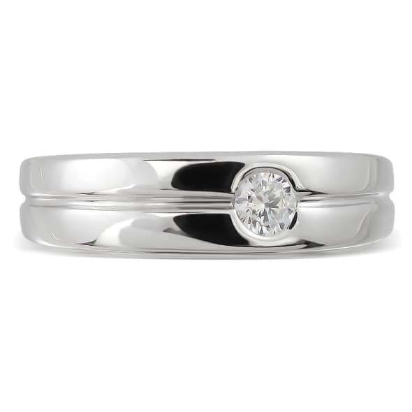 18K Gold and 0.10 Carat F Color VS Clarity Men's Diamond Band