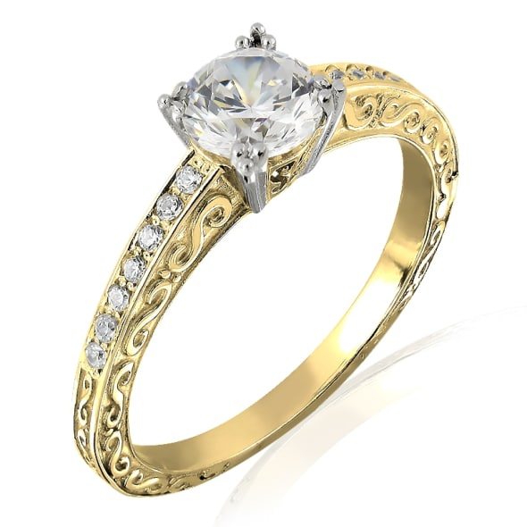 18K Gold and 0.40 Carat F Color VS Clarity Diamond Ring