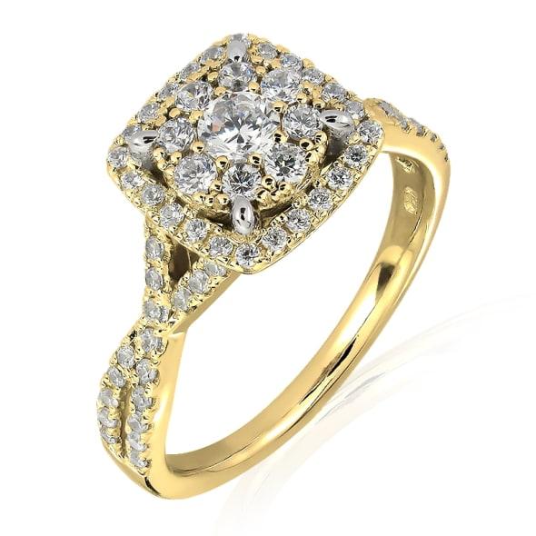 แหวนทอง 18K ประดับเพชร น้ำหนักรวม 0.75 กะรัต ค่าสี E ค่าความสะอาด VS