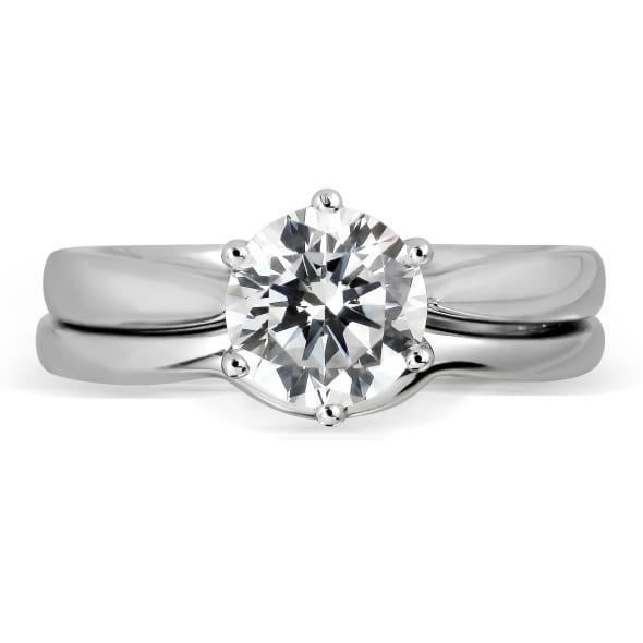 แหวนทอง 18K ประดับเพชร น้ำหนักรวม 0.50 กะรัต ค่าสี D ค่าความสะอาด VVS1 EX/EX/EX เพชรมาพร้อมใบรับรองจากสถาบัน GIA และแหวนเพชร Matching Band